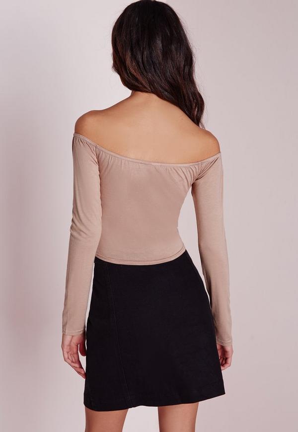 Long sleeve jersey bardot crop top nude tops missguided
