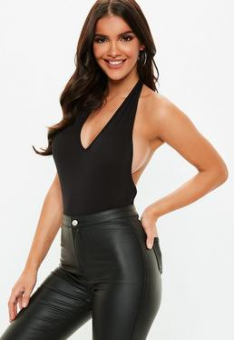 Black Deep Plunge Halter Neck Bodysuit