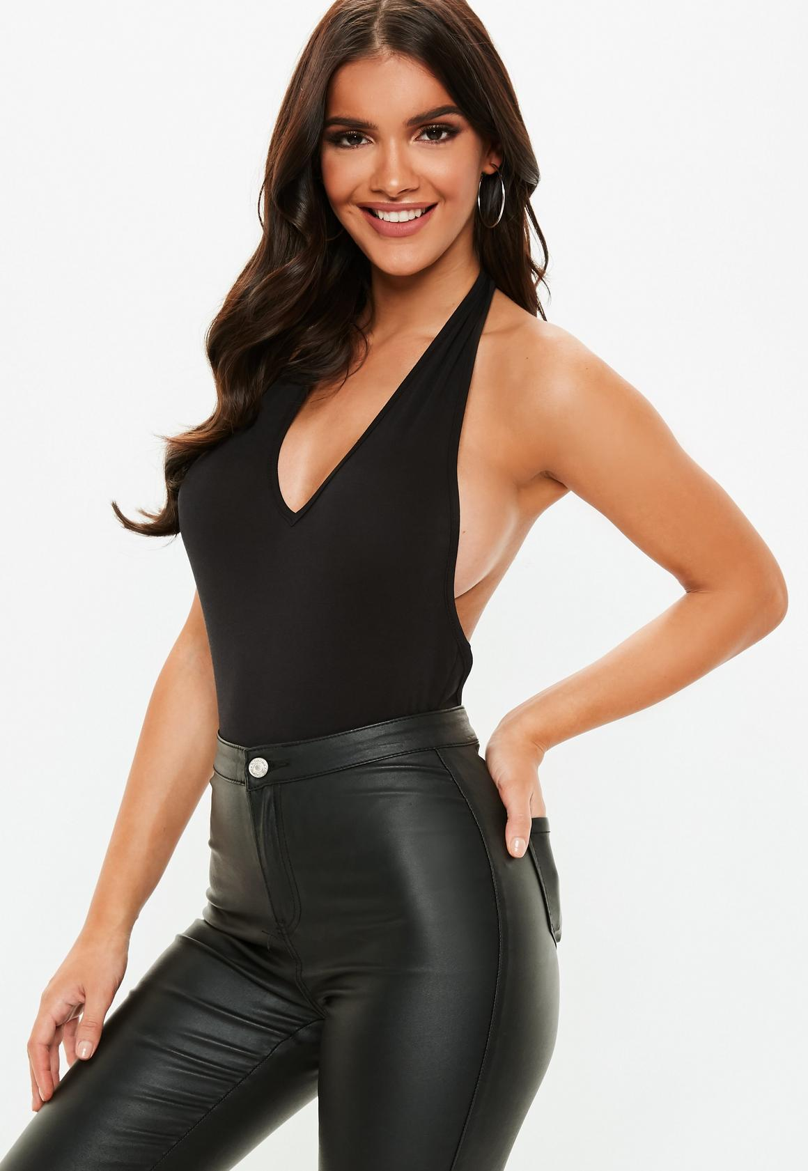 Missguided - Black Deep Plunge Halterneck Bodysuit 45dd3b092
