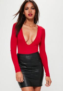 Red Long Sleeved V-Neck Bodysuit