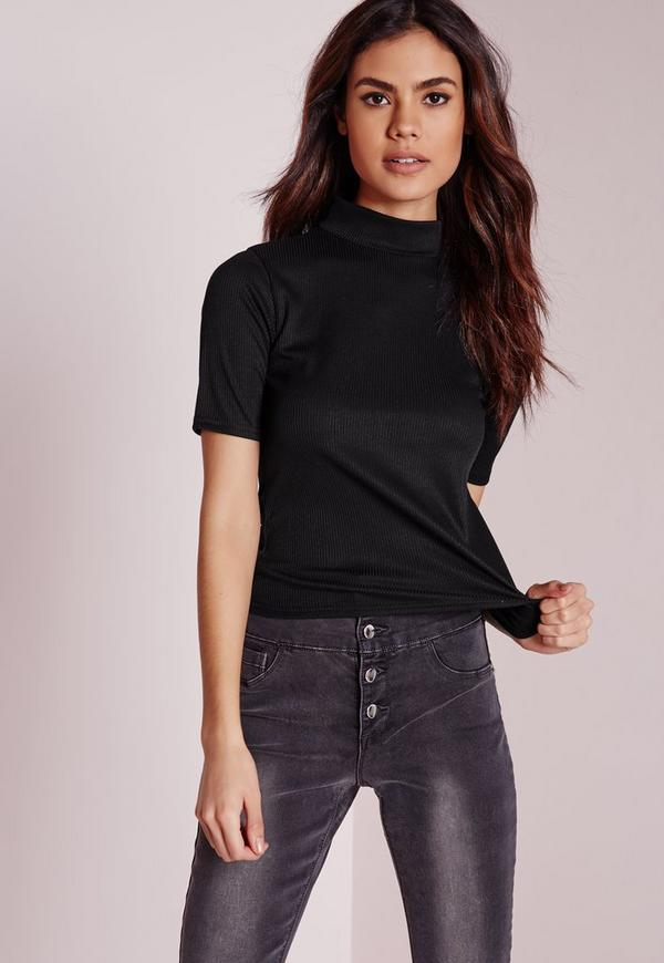 Ribbed Short Sleeve Top Black