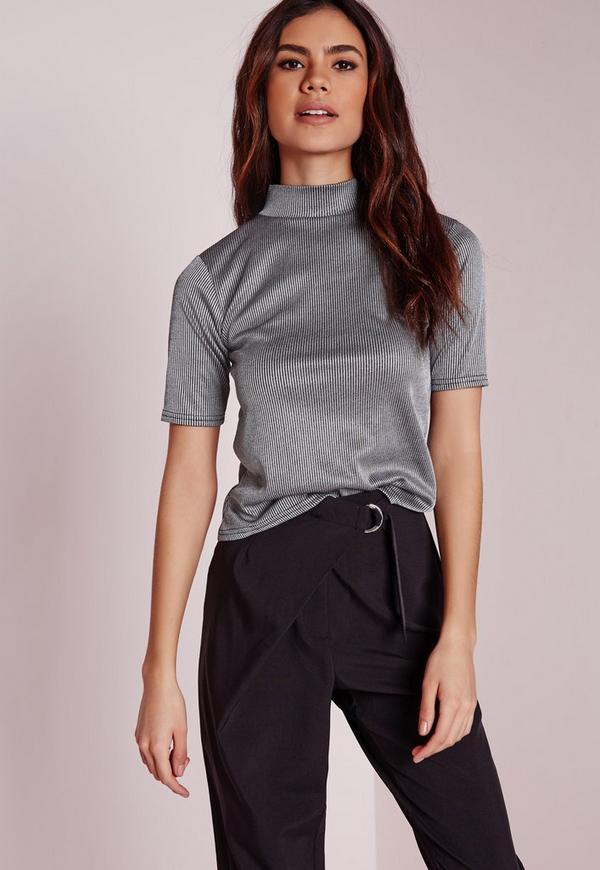 Ribbed Short Sleeve Top Grey
