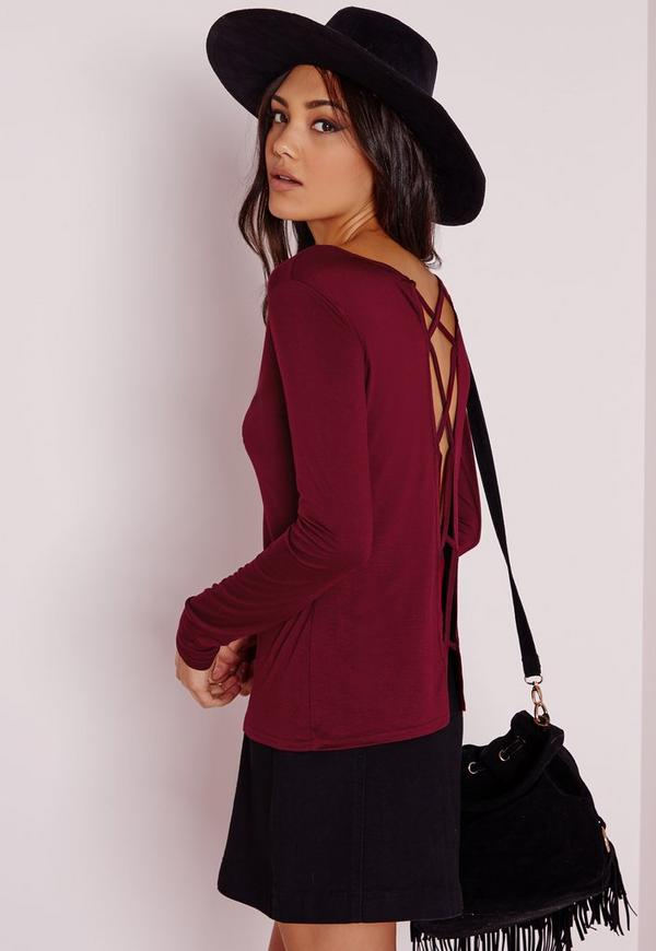 Lattice Back Detail Top Burgundy