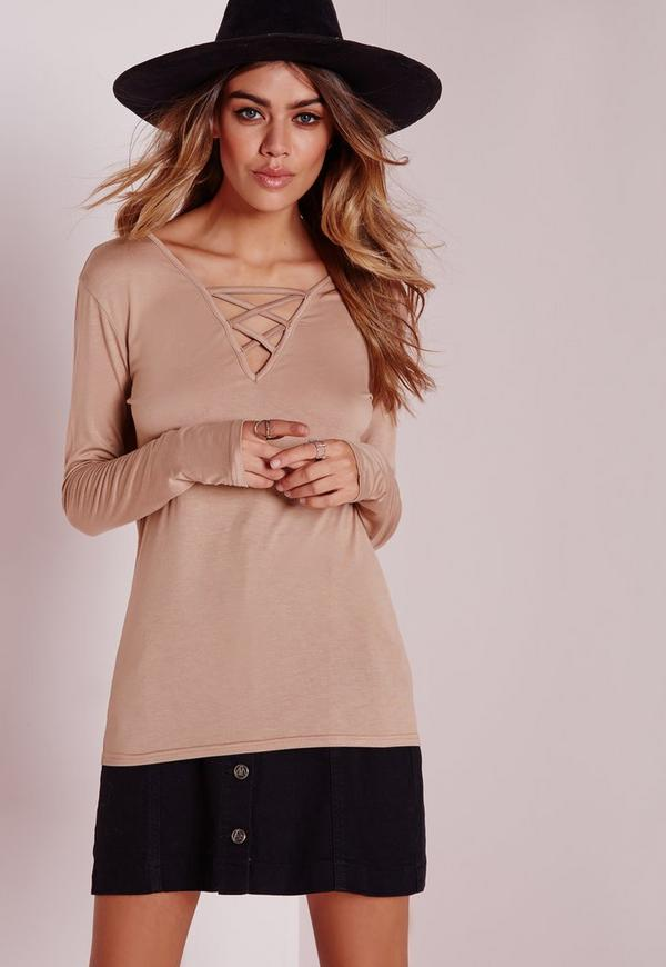 Long Sleeve Lattice Detail Top Taupe