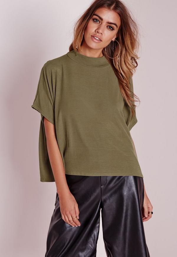 High Neck Rib Open Back Crop Khaki