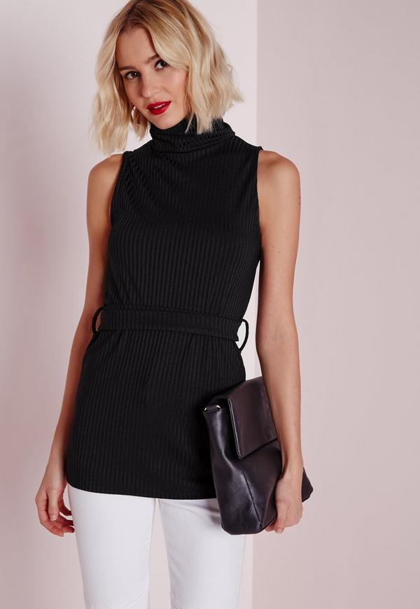 Wrap Around High Neck Ribbed Tunic Black
