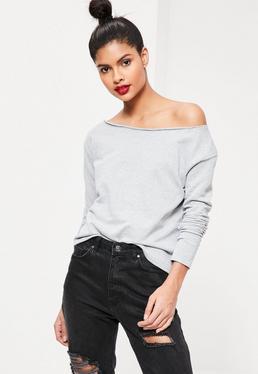 Kurzes Sweatshirt mit ungesäumten Kanten in Grau