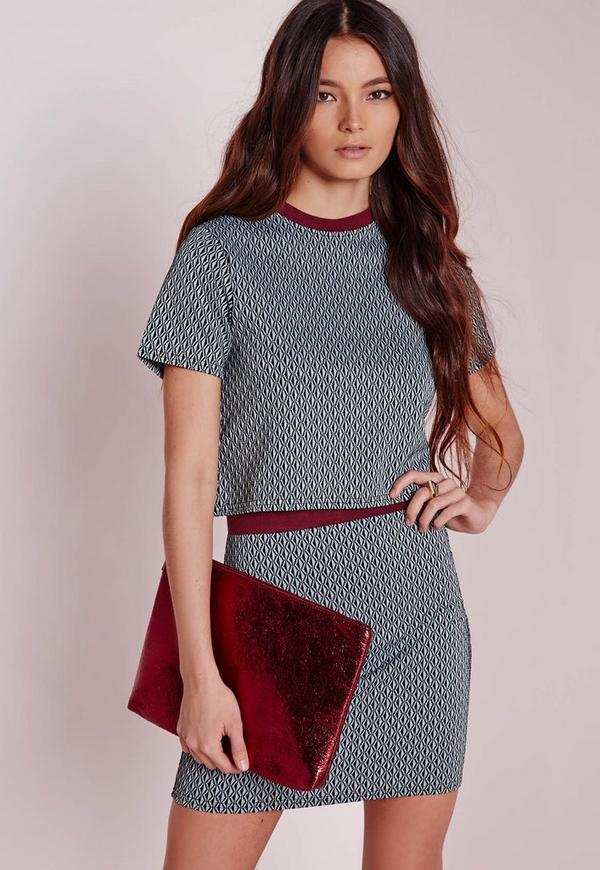 Jacquard  short sleeve crop top