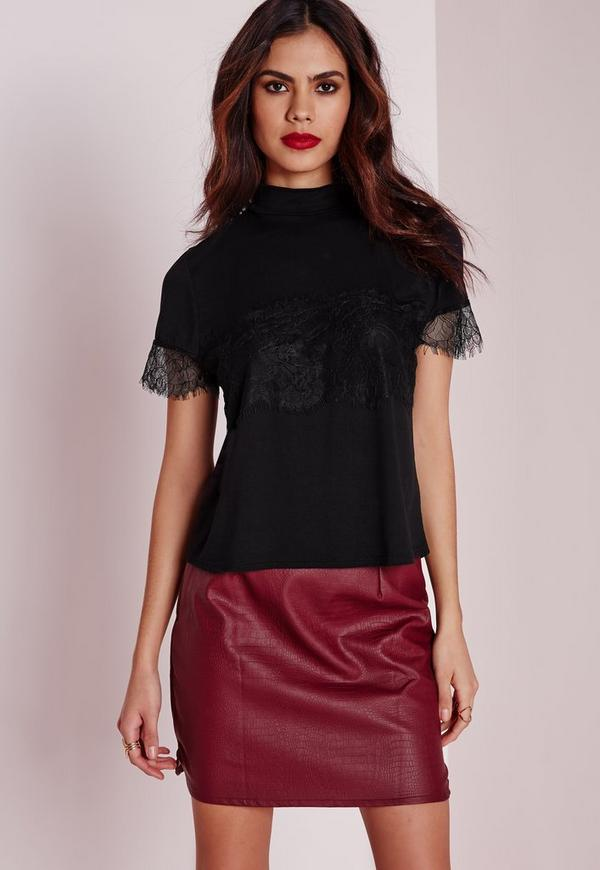 High Neck Lace Detail Top Black