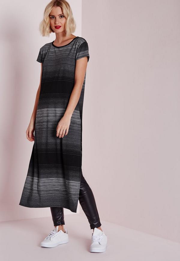 Longline Stripe T-Shirt With Side Splits Grey