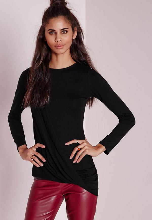 Drape Side Long Sleeve Top Black