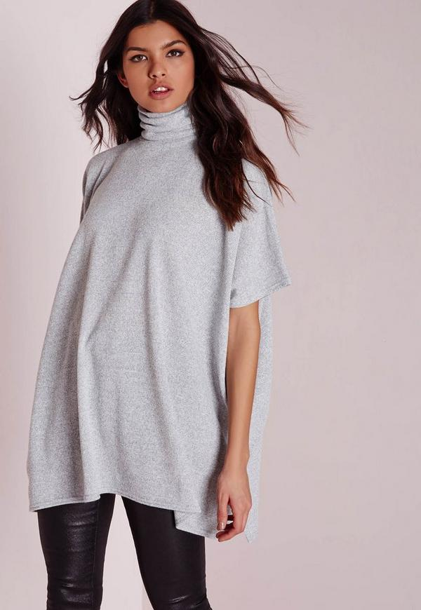 Roll Neck Short Sleeve Tunic Grey