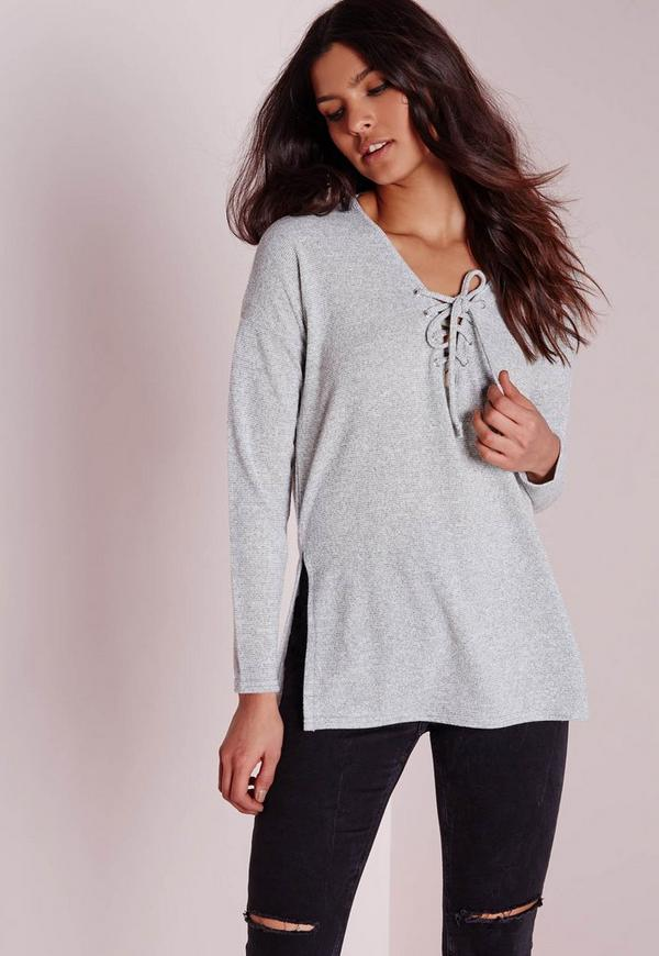 Lace Up Split Side Sweatshirt Grey