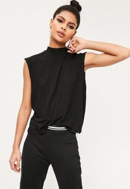 Turtle Neck Scoop Armhole Top Black