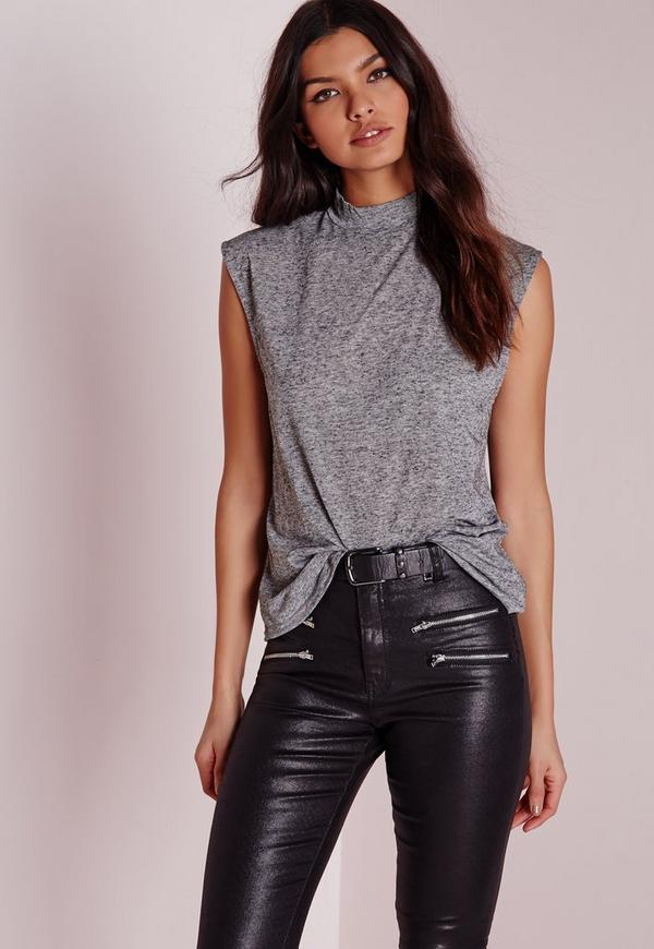 Turtle Neck Scoop Armhole Grey