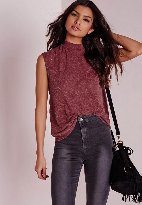 Turtle Neck Scoop Armhole Burgundy