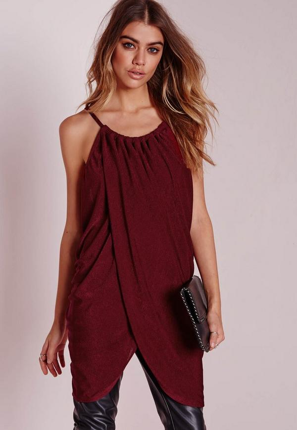Gather Wrap Longline Cami Burgundy