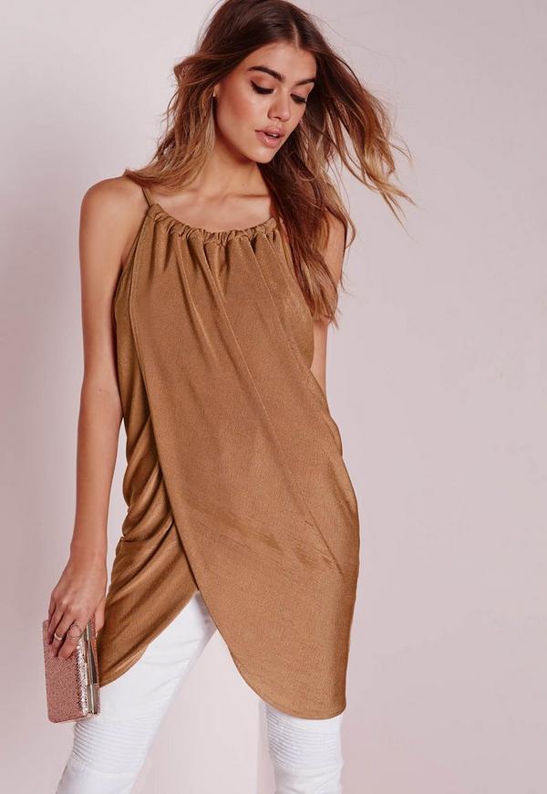 Gather Wrap Longline Cami Camel