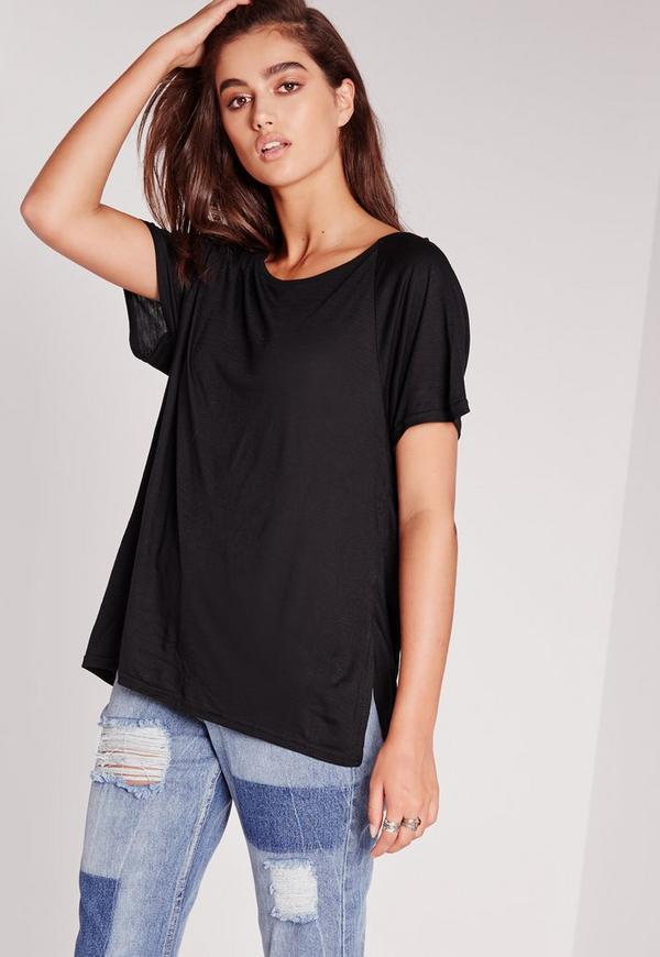 Crew Neck Raglan Split Side T Shirt Black
