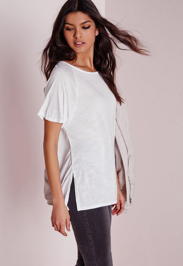 Crew Neck Raglan Split Side T Shirt White