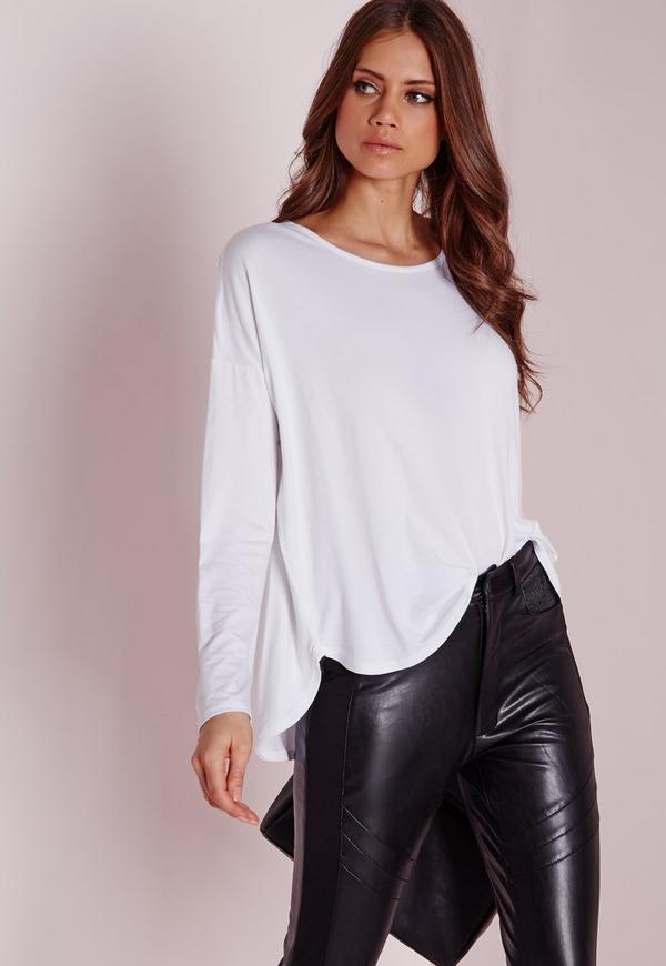 Long Sleeve Curve Hem Tshirt White