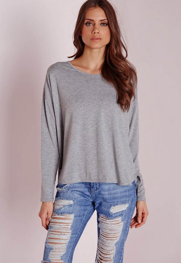Long Sleeve Curve Hem Top Grey Marl