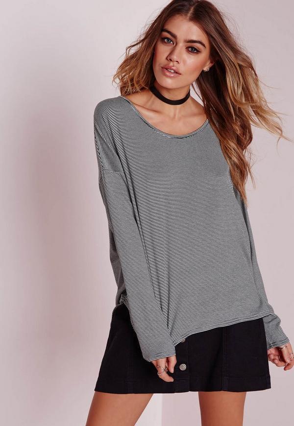 Long Sleeve Curve Hem T-Shirt Black Stripe