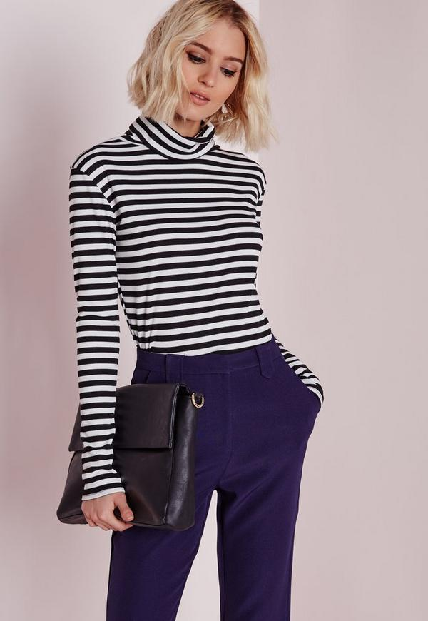Ribbed Roll Neck Stripe Top