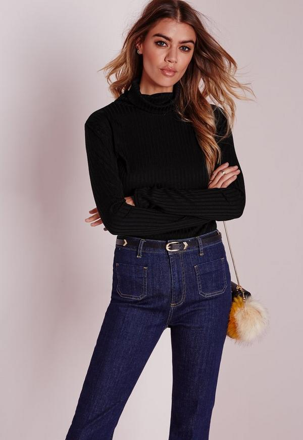 Ribbed Roll Neck Top Black