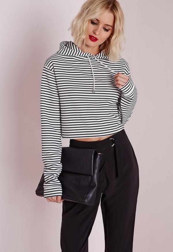 Hooded Striped Cropped Sweatshirt Cream