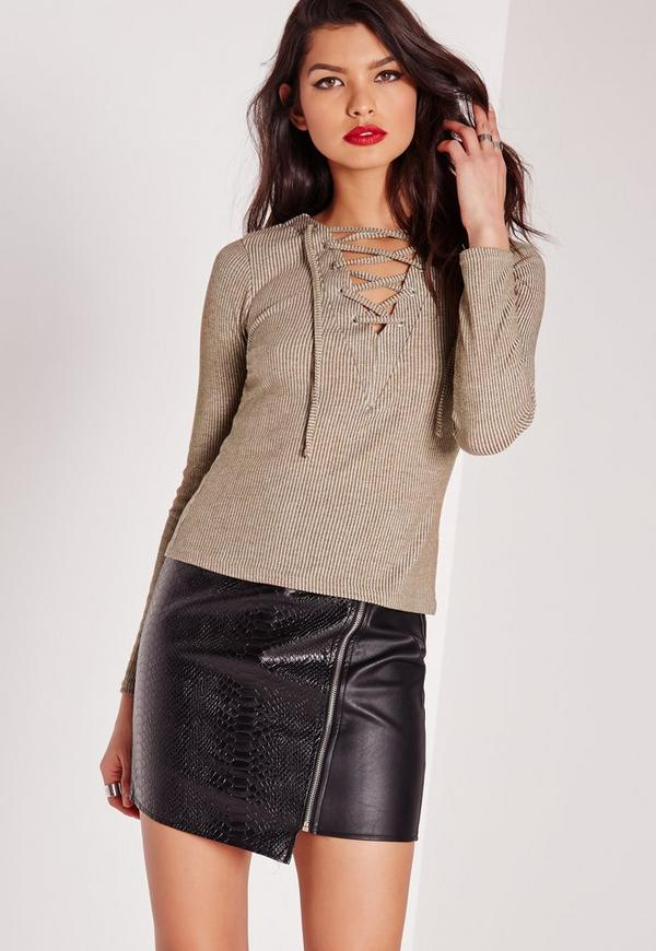 Long Sleeve Lace Up Front Top Khaki