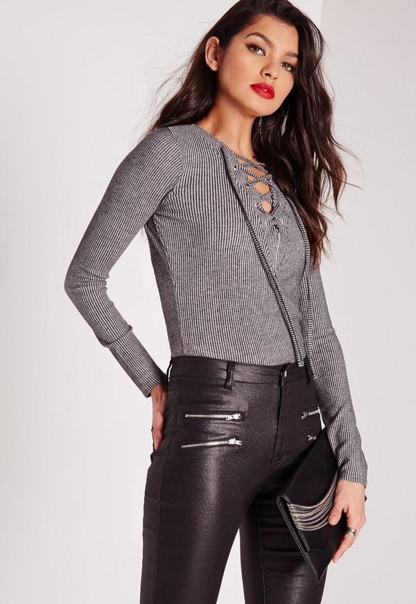 Long Sleeve Lace Up Front Top Grey