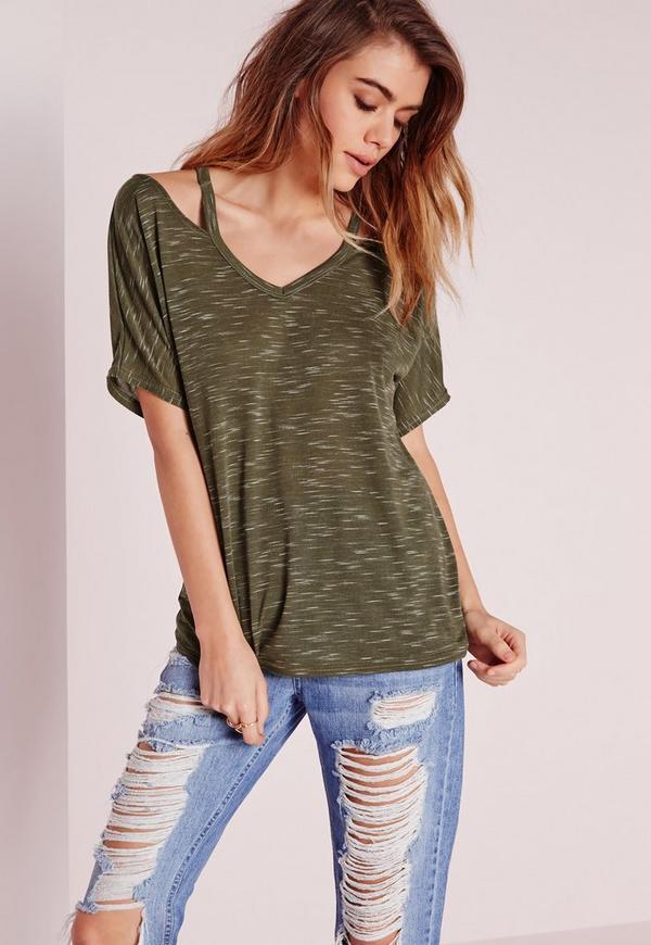 Strappy Neck T Shirt Khaki