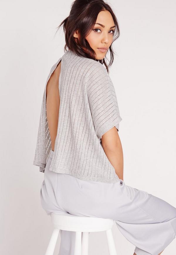 Sheer Stripe Rib Split Back Top Grey