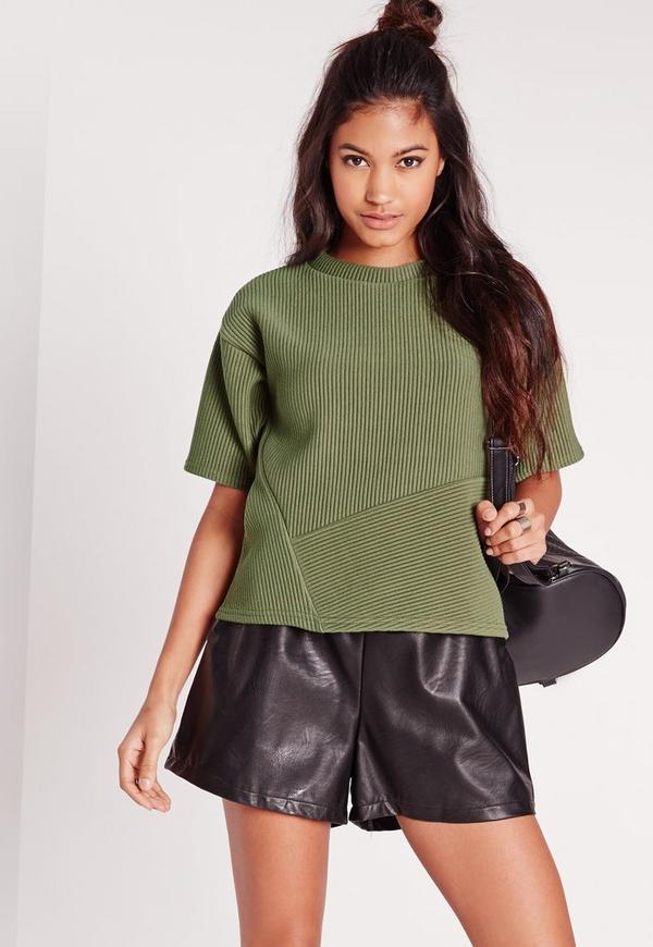 Ribbed Panelled Sweatshirt Khaki