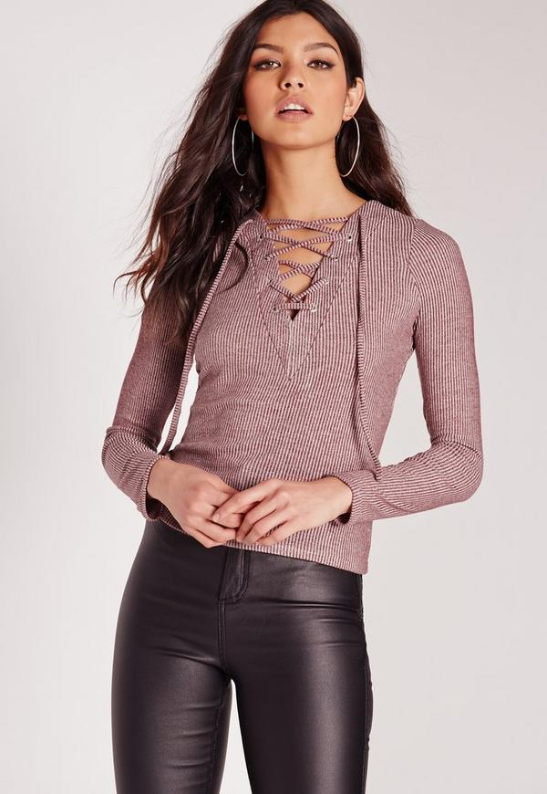 Long Sleeve Lace Up Front Crop Top Burgundy