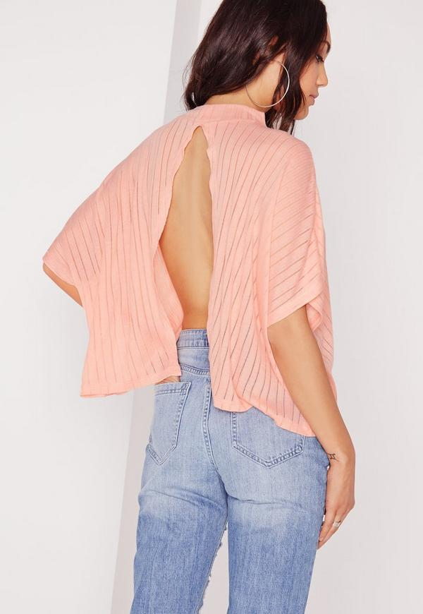 Sheer Stripe Rib Split Back Top Coral