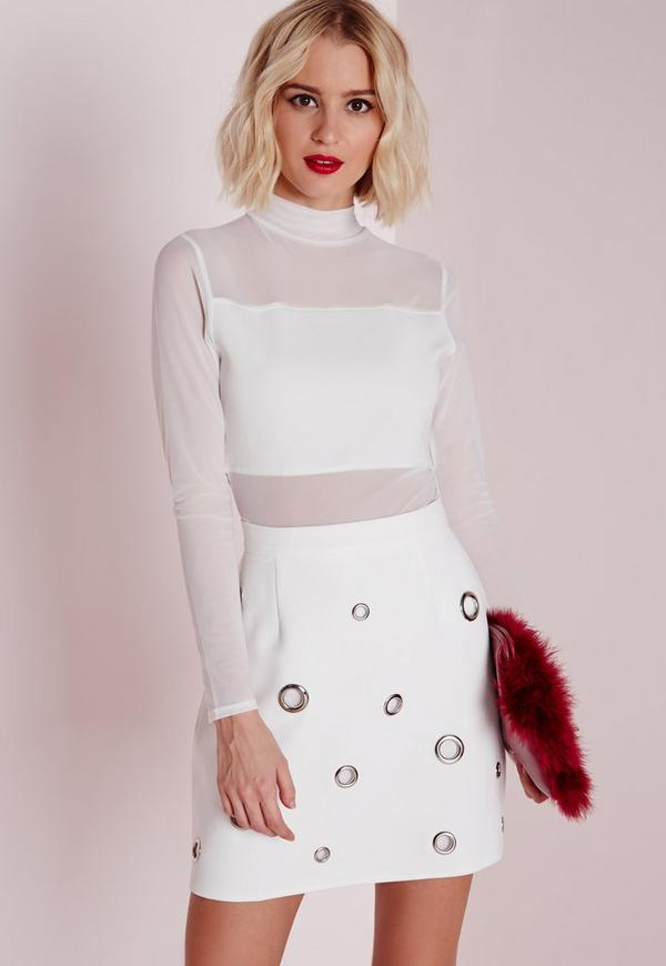 Mesh Panelled Top White