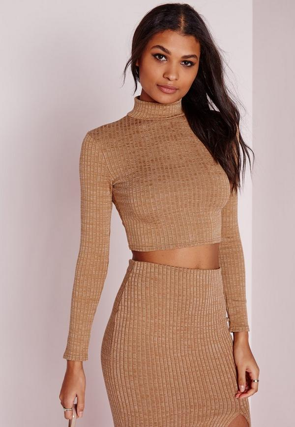 Turtle Neck Long Sleeve Jersey Crop Top Camel