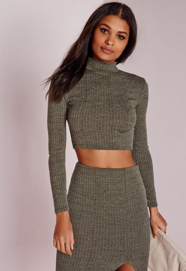 Turtle Neck Long Sleeve Jersey Crop Top Khaki