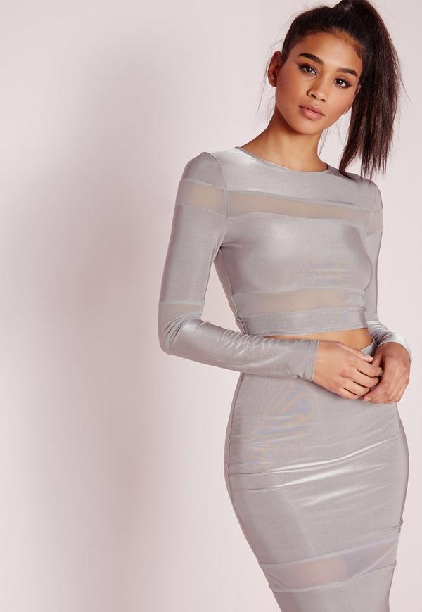 Mesh Stripe Long Sleeve Crop Top Slate Grey
