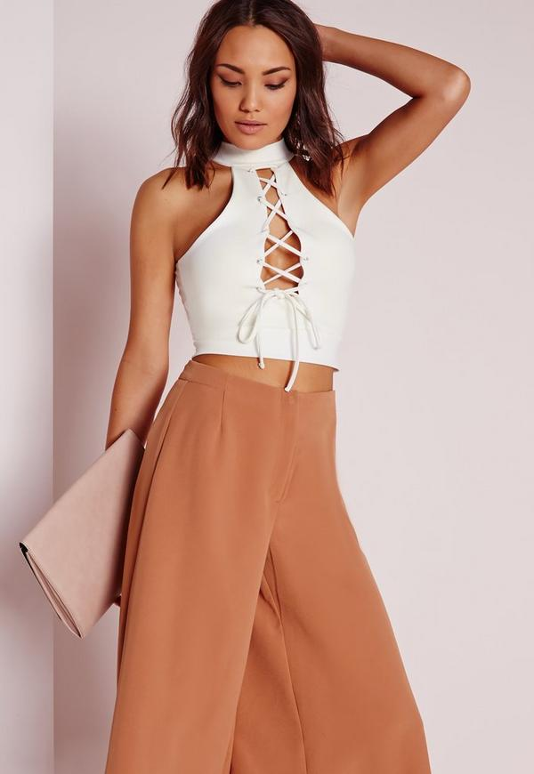 Choker Lace Up Crop Top White