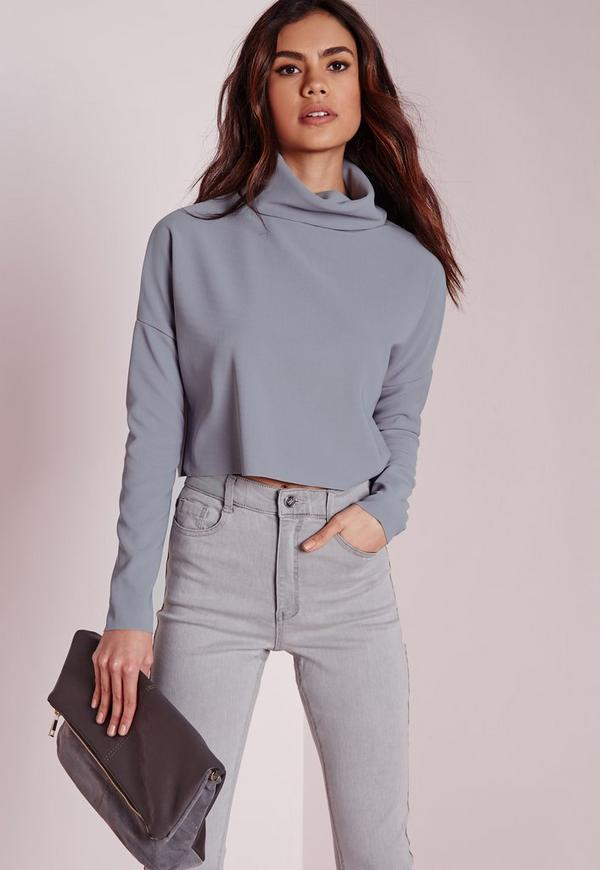 Roll Neck Rib Long Sleeve Crop Top Grey