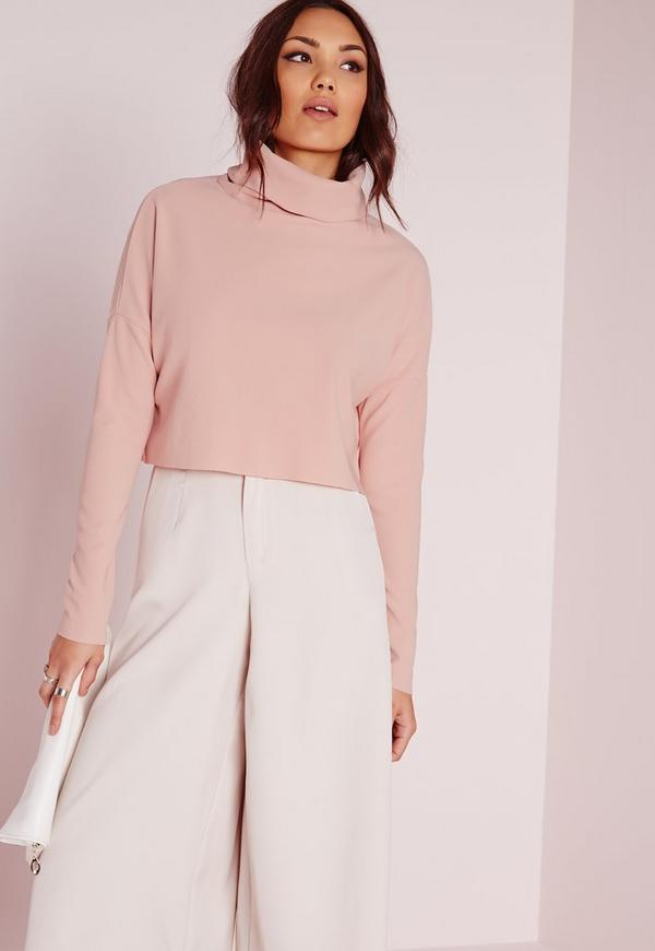 Roll Neck Ribbed Long Sleeve Crop Top Pink