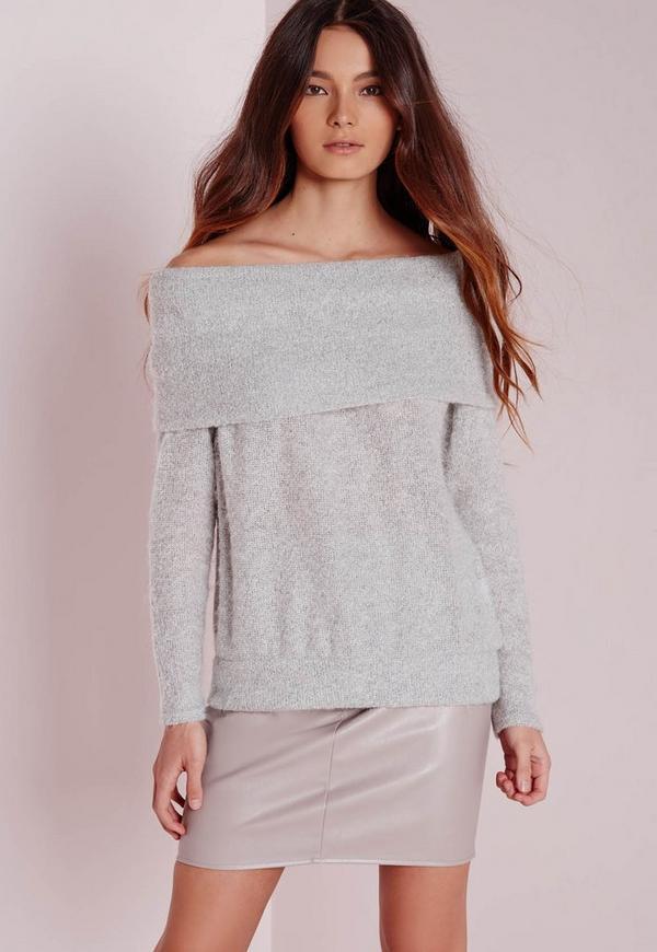 Fold Bardot Fluffy Sweatshirt Grey