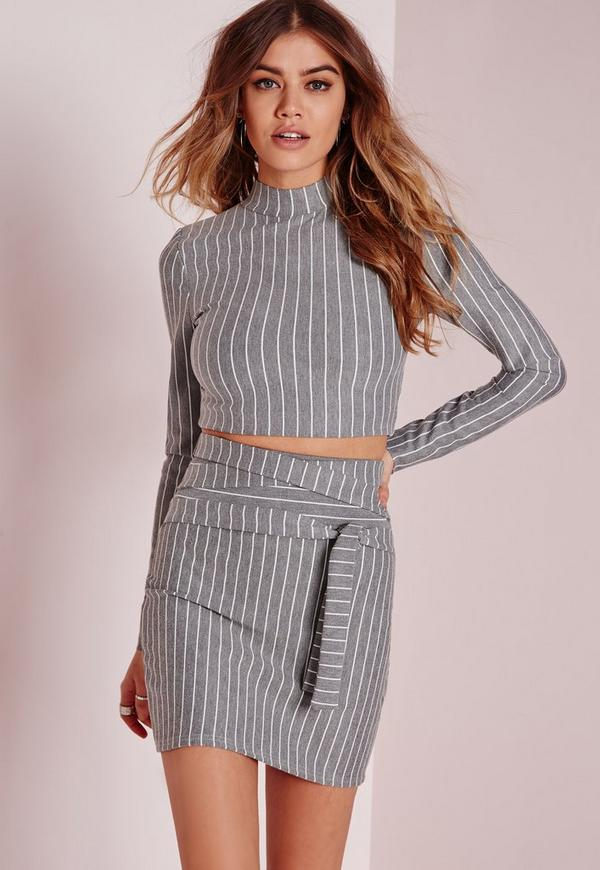 Vertical Stripe High Neck Crop Top Grey