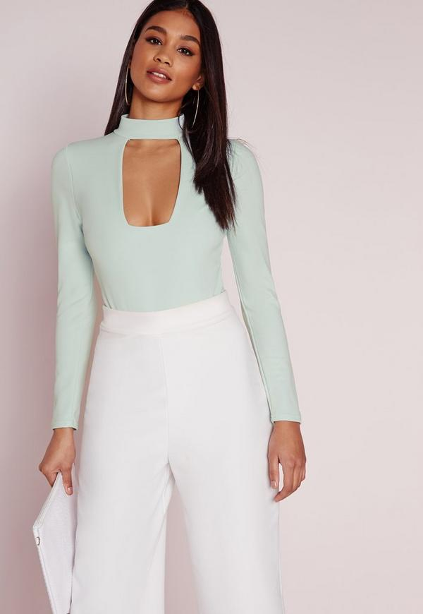 square neck plunge choker bodysuit mint