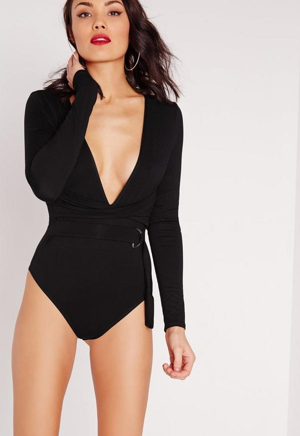 Wrap Around Bodysuit Black