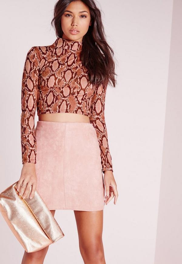 Turtle Neck Snake Crop Top Pink