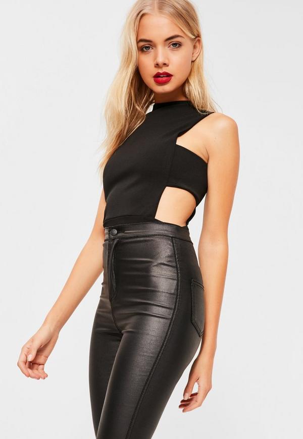 black crepe tab side bodysuit missguided. Black Bedroom Furniture Sets. Home Design Ideas